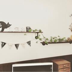MAGIQ 東京堂 上質な造花 ハートリーフ ツイッグガーランド GREEN FG002609(その他キッチン、日用品、文具)を使ったクチコミ「リビングのテレビボードの上の壁面です。 …」