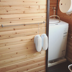 3113 マミーウォッシュタブ12L日本製/洗い桶(バケツ、ポリバケツ)を使ったクチコミ「狭い脱衣所のバスシューズの収納問題☝︎ …」