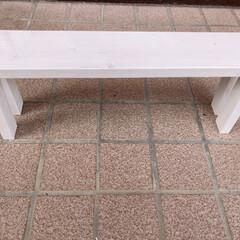 エクステリアカラー ホワイト  水性着色剤 ウッドアトリエ | 和信ペイント(Washi Paint)(ニス、ステイン)を使ったクチコミ「端材を使って、多肉植物を置く棚を作りまし…」(2枚目)