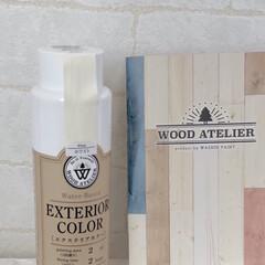 エクステリアカラー ホワイト  水性着色剤 ウッドアトリエ | 和信ペイント(Washi Paint)(ニス、ステイン)を使ったクチコミ「端材を使って、多肉植物を置く棚を作りまし…」(5枚目)