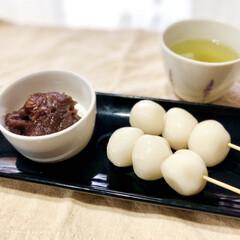 おうちカフェ/今日のおやつ/和菓子/お団子/白玉/白玉団子/... 今日の手作りおやつはお団子。こしあんも添…