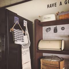 カフェ風インテリア/掛ける収納/冷蔵庫側面/冷蔵庫横/雑貨/キッチン雑貨/... 雑貨屋さんで見つけた、貼ってはがせるフッ…
