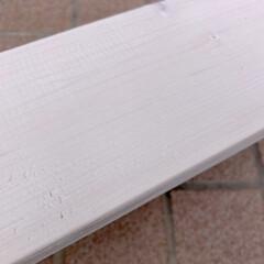 エクステリアカラー ホワイト  水性着色剤 ウッドアトリエ | 和信ペイント(Washi Paint)(ニス、ステイン)を使ったクチコミ「端材を使って、多肉植物を置く棚を作りまし…」(3枚目)