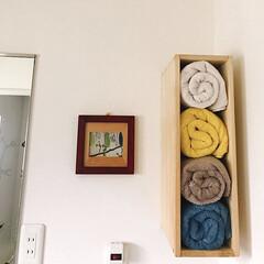 バスタオル収納/洗面所/DIY/収納 何年も前に作った 洗面所のバスタオル収納…