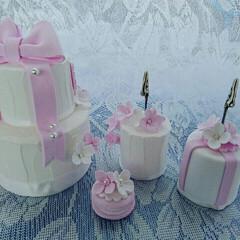 ウェルカムボード/メモスタンド/ケーキ/結婚式/ウェディングパーティー/ウェディング/... クレイケーキのリングピローです。メモスタ…