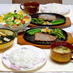 ステーキ/黒毛和牛/ステーキ定食/夜ご飯/サラダ/いんげん/... ●黒毛和牛ステーキ(いんげん、にんにく、…