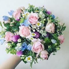 ブーケ/お花/グリーン お花のレッスンにて ブーケ💐
