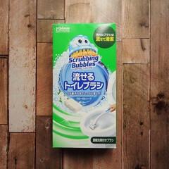 スクランビング 流せるトイレブラシ 本体+替えブラシ28個   JOHNSON(トイレ洗剤)を使ったクチコミ「洗剤付きブラシで、ブラシを使った後は流す…」(1枚目)