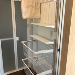 ランドリーラック/DIY/イケア/収納/インテリア/洗濯 IKEAのアルゴートシステムでランドリー…