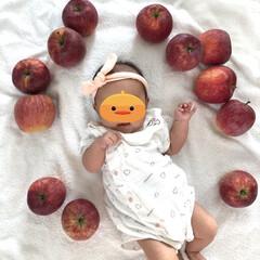 ベビーファッション/赤ちゃんのいる生活/赤ちゃんファッション/赤ちゃん服/子ども服/ファッション/... りんごを出産祝いにいただきました! せっ…