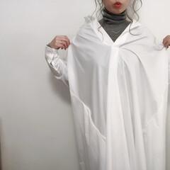 ワンピース/プチプラファッション/プチプラコーデ/ファッション 白シャツゲット! ロング丈でかわいい♡ …