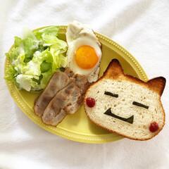 食パンアレンジ/食パン/パン/おうちごはん/ランチ/簡単/... おひるごはんー! ベーコンと目玉焼きをパ…