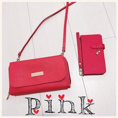 ピンク/スマホケース/iPhoneケース/ウォレットバッグ/バッグ/鞄/... 私の大好きなピンクコラボ❤❤❤ ウォレッ…