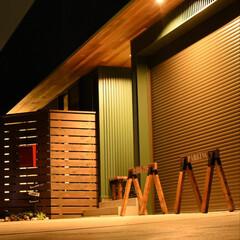 DIY/雑貨/100均/インテリア/家具/住まい/... 夜の外構風景です。 こちらも手作りのもの…