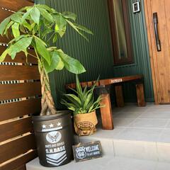 ウェルカムボード/ペール缶/DIY/ディアウォール/雑貨/セリア/... 手作りグッズが並んでる玄関です♡ ペール…