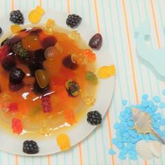 夏/YouTube/クックパッド/グルメ/料理/グミ/... 🧸 グミゼリーケーキ 🧸  グミを贅沢に…