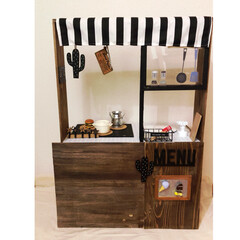キャンドゥ/キッズキッチン/カラボ/カラーボックス/おままごとキッチン/DIY/... すのこ×カラーボックスで、おままごとキッ…