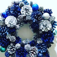 猫さん大好き/お洒落/ブルー/ダイソー/ハンドメイド/雑貨/... 本日はシックなブルーで統一したクリスマス…