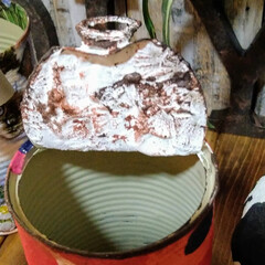 アンティーク エイジング 塗料 P-Effector ザラザラベース(ペンキ、塗料)を使ったクチコミ「リメ缶多肉植物サイズです。底穴が空いてる…」(3枚目)