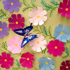 創作/折り紙/秋/コスモス/生活の知恵/おしゃれ 秋のお花❀コスモ🌼 折り紙で作りましたよ🤗