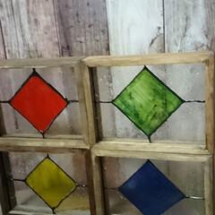 ターナー色彩 ガラスペイント 泡玉 40ml(ペンキ、塗料)を使ったクチコミ「セリアのガラスフォトフレームを使った、フ…」(3枚目)