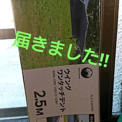 ウイングワンタッチテント 250 本体: W250×D250×H240cmウイングサイズ250cmx110cm 富士見産業(その他テント)を使ったクチコミ「フリマのために、タープ買いました⤴️ L…」
