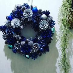猫さん大好き/お洒落/ブルー/ダイソー/ハンドメイド/雑貨/... 本日はシックなブルーで統一したクリスマス…(2枚目)