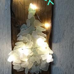 シーグラスアート/次のコンテストはコレだ!/セリア/100均/DIY/雑貨/... シーグラスを使い、クリスマスツリー雑貨ハ…