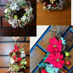 クリスマス/グルーガン/プリザブドフラワー/フラワーアレンジ 今年用に作りました。2つは 娘達の家で …