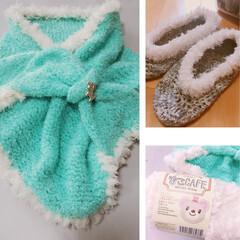 あったか靴下/マフラー/編み物/ハンドメイド/ダイソー ダイソー毛糸で編みました 子供用マフラー…