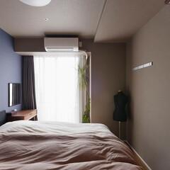 ベッドルーム/主寝室/採光/アクセントカラー/マンション/リフォーム/...