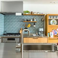 キッチン/タイル/Ⅱ型/セパレート/オープンキッチン/ブルーグレー/...