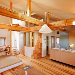 LDK/無垢材/フローリング/床暖房/勾配天井