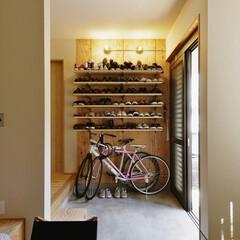 玄関/靴/玄関収納/オープン収納/自転車/土間