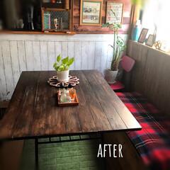 テーブルリメイク/テーブル/リビング/レトロ/天板DIY/SPF1x4/... テーブルの天板をリメイクしました。  元…