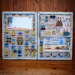 レトロ風雑貨/北欧風雑貨/アンティーク加工/簡単リメイク/簡単DIY/100均DIY/... 壁かけ用アクセサリー収納ボードを作りまし…