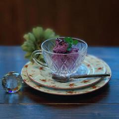アイスクリーム/手づくりスイーツ/おやつ/レトロ食器/雨季ウキフォト投稿キャンペーン/フォロー大歓迎/...  紫芋アイスクリーム   ほっこり お芋…