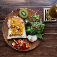 ハンドメイドコースター/ワンプレートごはん/レトロ食器/おうちカフェごはん/おうちカフェ/おうちごはんクラブ/... 今日の朝ごパン  柿とクリームチーズのハ…