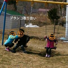 ブランコ/公園遊び/おでかけ 兄、姉でブランコ取り合い💦 妹にはちゃん…