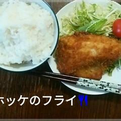 ホッケフライ/じゅん家の夕飯🍴/おうちごはん/フード 夕飯🍴 久しぶりにホッケフライ😄🍴 トン…