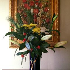 生け花/師範/華道/正月花/玄関/香蘭社/... わたくしが生けたお正月花です。若い時に生…