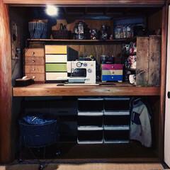 和室リメイク/大正ロマン/押入れDIY/押入れ改造/押入れ収納/レトロ/... 和室の押入れの扉を全部外して、作業スペー…