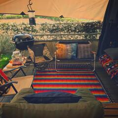 キャンプギア/落ち着く庭/落ち着く空間/庭アウトドア/庭づくり/GW/... ゴールデンウィーク後半は友達と庭BBQで…