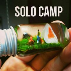 テント/焚き火/キャンプファイヤー/世界一小さいソロキャンプ/キャンプインテリア/キャンプグッズ/... 世界一小さいソロキャンプ🌟 のハーバリウ…
