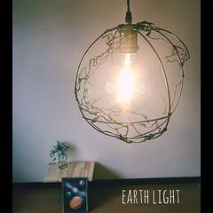 針金アート/ワイヤークラフト/ワイヤーアート/地球柄/地球儀/宇宙/... 宇宙、星好きにはたまらない!地球型ランプ…(1枚目)