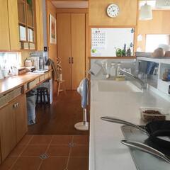 おうち自慢/キッチン/キッチンリセット/掃除/片付け/収納/... 朝のリセット後のキッチンは清々しくていい…