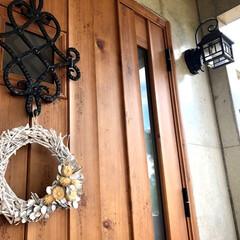 リミアな暮らし/リミア/暮らし/住まい/玄関/玄関ドア/... キャンドゥのドライパーツで作った手作り玄…