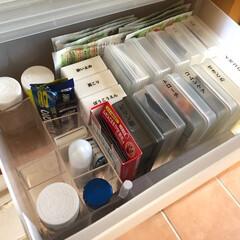お薬収納/薬収納/収納/片づけ/常備薬/無印良品/... ダイソーのコインケースや印鑑ケースの中身…
