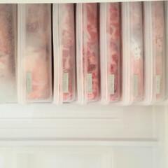 買い置き/お弁当/ズボラ主婦/冷凍庫収納/100均/節約/... お肉率高めな我が家の食卓。 お肉はまとめ…