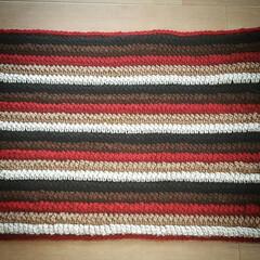 かぎ針編み/マット/玄関マット/フォロー大歓迎/ハンドメイド/DIY/... アクリル毛糸で玄関マットを編みました‼ …